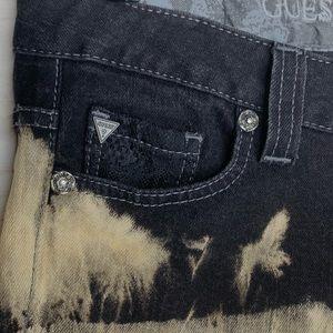 Guess Shorts - GUESS Black Dip Dyed Jean Cutoff Shorts with Bling